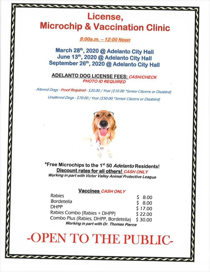 Dog License Microchip Vaccination Clinic