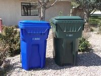 Blue and green trash barrels at the curb in front of a house
